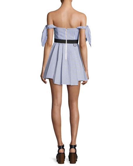 Striped Shirting Tie-Sleeves Mini Dress, Blue
