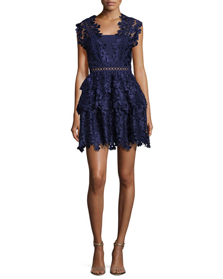 Self-Portrait Clover Embroidered Mini Dress, Navy