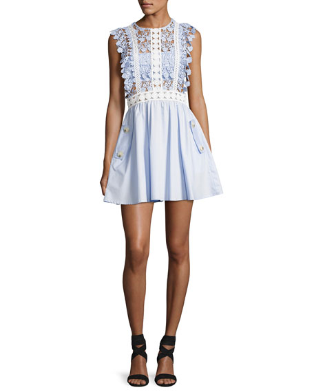 Self-Portrait Floral Vine Mini Dress, Baby Blue