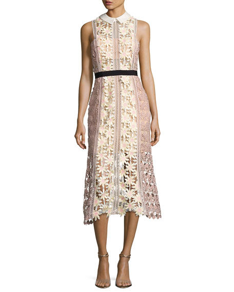 Self-Portrait 3-D Floral Panel Midi Dress, Multi