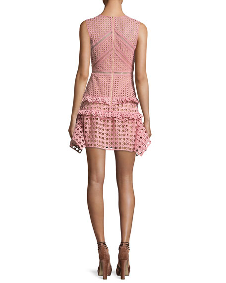 Crosshatch Frill Mini Dress, Pink