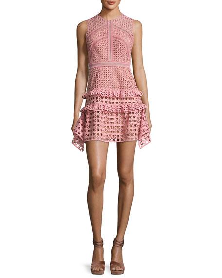 Self-Portrait Crosshatch Frill Mini Dress, Pink