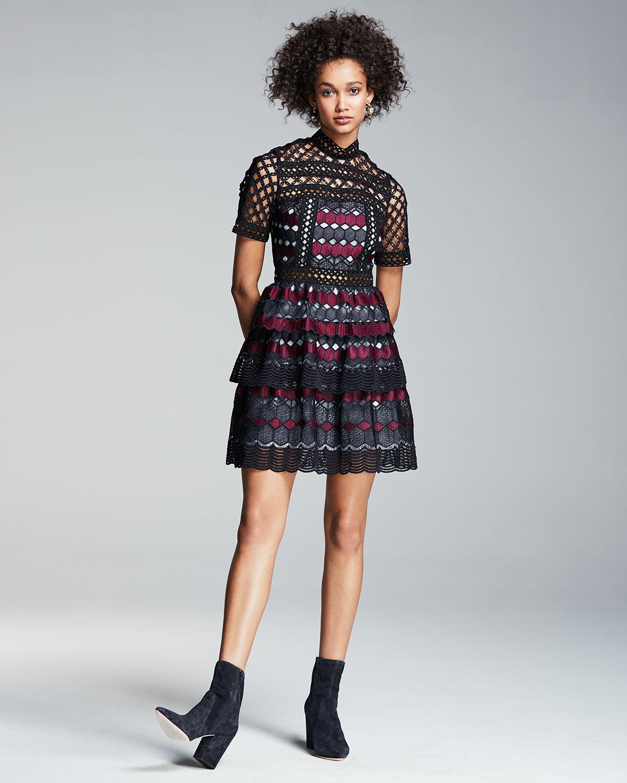 284858fdaf2fb Self-Portrait Hexagon Lace Mini Dress, Multi | Neiman Marcus