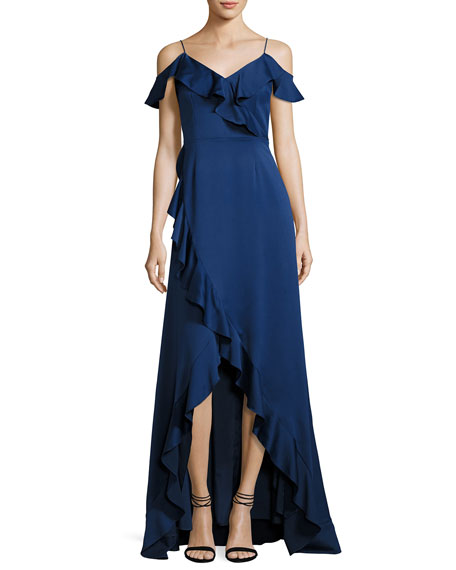 Aidan by Aidan Mattox Cold-Shoulder Satin High-Low Ruffle