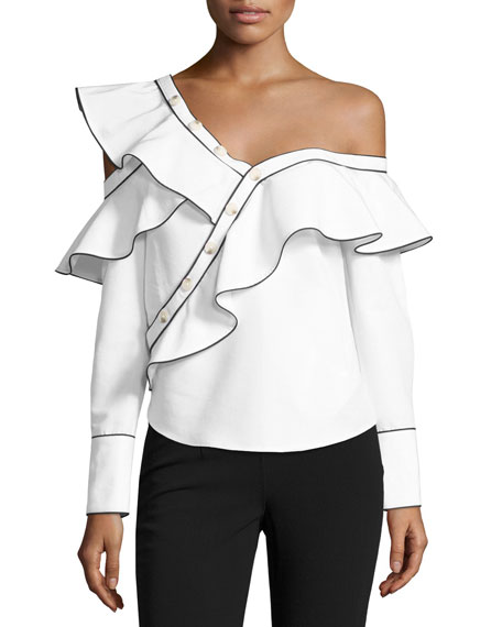 Self-Portrait Poplin Frill One-Shoulder Shirt, White