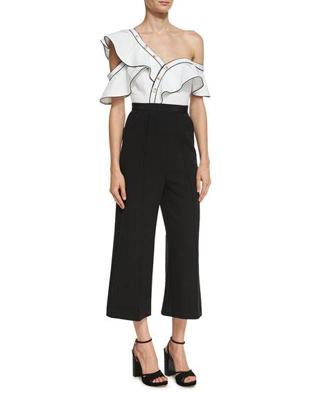 Self-Portrait Monochrome Frill Jumpsuit, Black/White