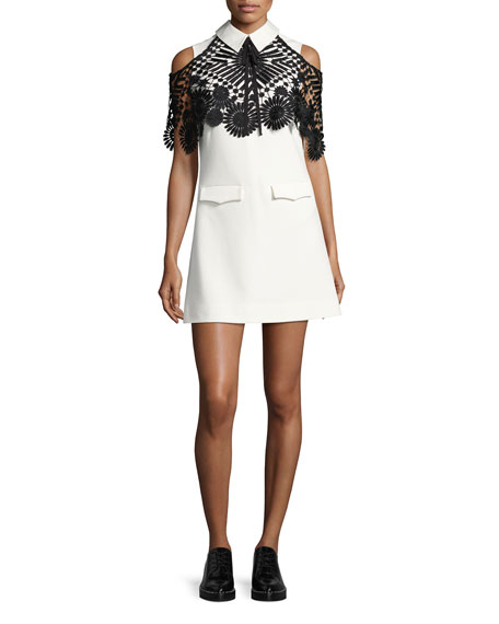 Monochrome Lace Cape Mini Dress, Black/White