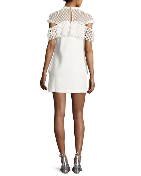 Mixed Floral Frill Mini Dress, White