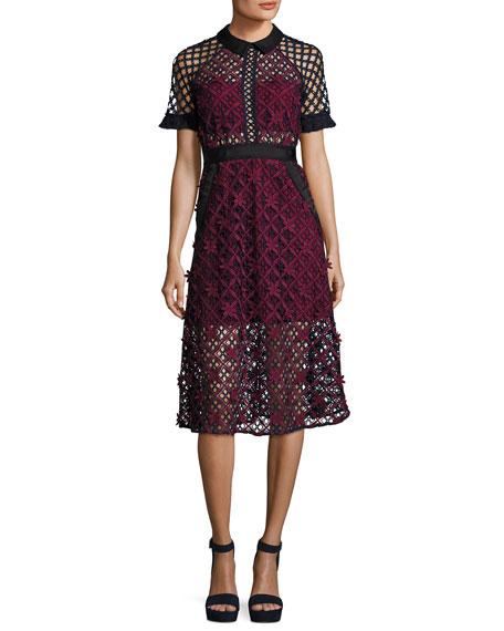 Self-Portrait Floral Grid Midi Dress, Multi