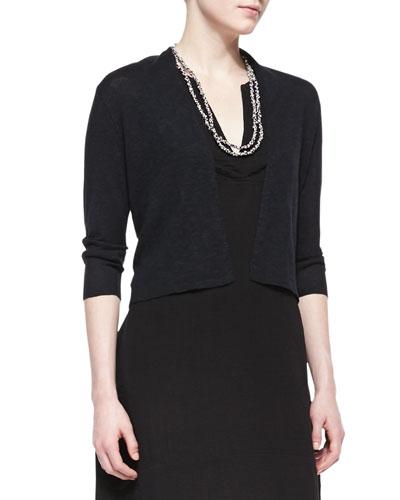 3/4-Sleeve Cropped Cardigan, Black