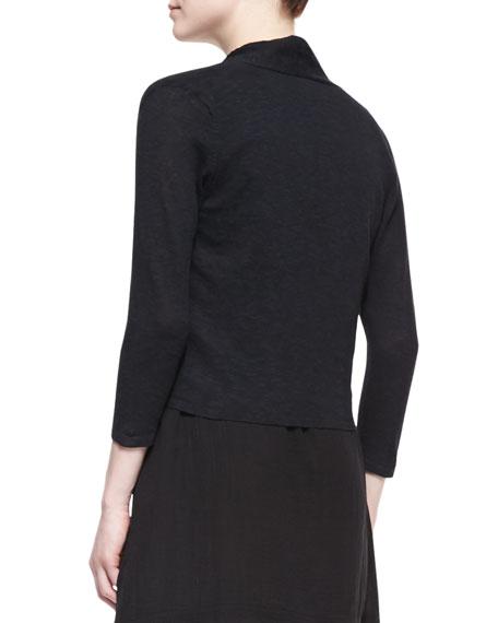 3/4-Sleeve Slub Cropped Cardigan, Black, Petite