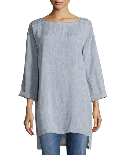 Long Yarn-Dye Tunic, Plus Size
