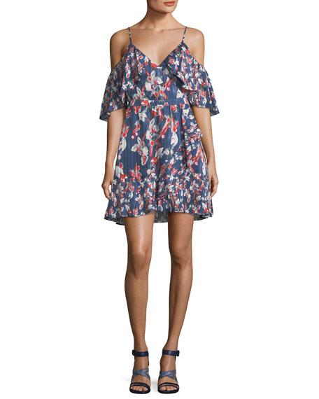 Tanya Taylor Designs Amylia Floral-Ikat Silk Stripe Short