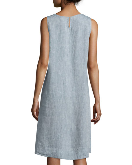 Sleeveless Chambray Linen Dress