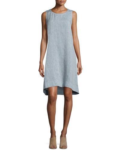 Sleeveless Chambray Linen Dress, Petite