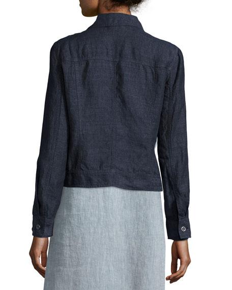 Organic Linen Jean Jacket, Denim, Plus Size