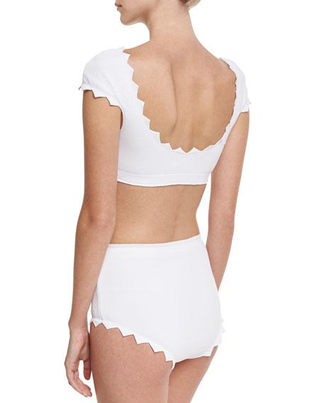 Mexico High-Waist Swim Bikini Bottom, White
