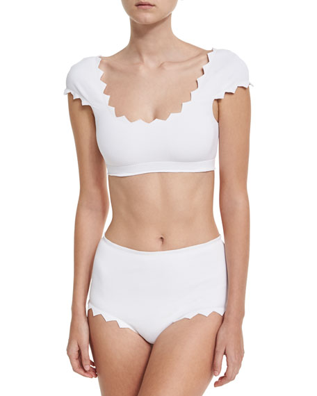 Marysia Mexico Zigzag Cap-Sleeve Swim Top, White and