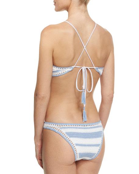 Halter Crocheted Two-Piece Bikini, Blue