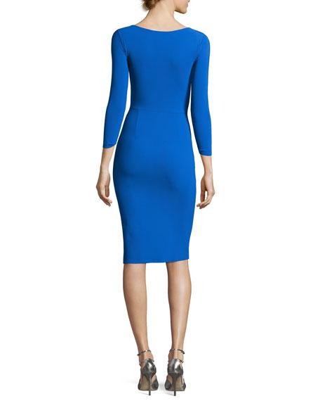 Rhea 3/4-Sleeve Ruched Cocktail Dress, Blue Klein