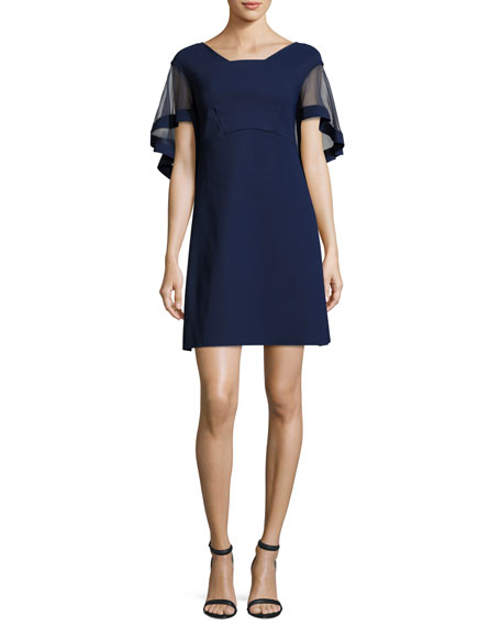 Jason Flutter-Sleeve Cocktail Dress, Navy