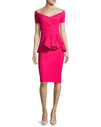 Blake Off-the-Shoulder Sweetheart Peplum Dress, Pink