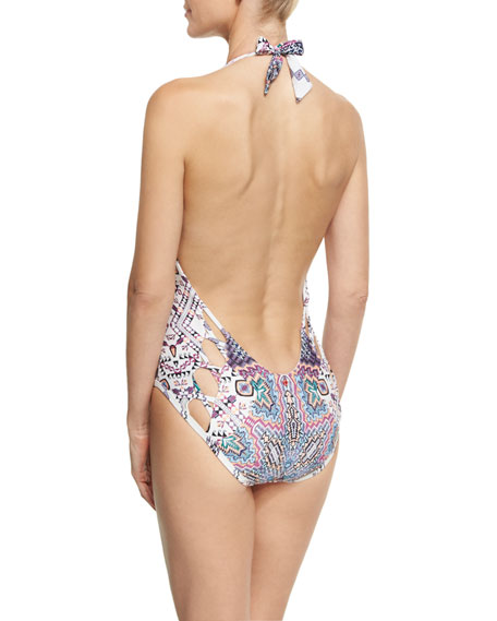 Halter Maillot Low-Back One-Piece Swimsuit, Multi Pattern