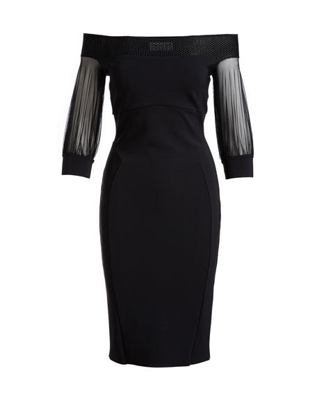Gretel 3/4-Sleeve Jersey Cocktail Dress, Black