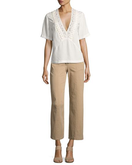 Annora Short-Sleeve Silk Top, Beige