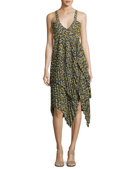 A.L.C. Kendall Sleeveless Printed Silk Dress, Yellow Pattern