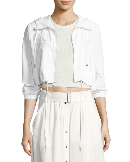 A.L.C. Broderick Cropped Hooded Jacket, White and Matching