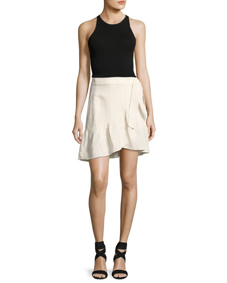 Hampton Wrap-Front Mini Skirt, White