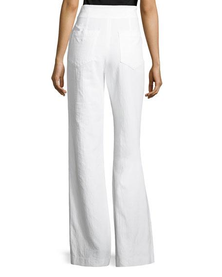 Archie High-Waist Poplin Pants, White