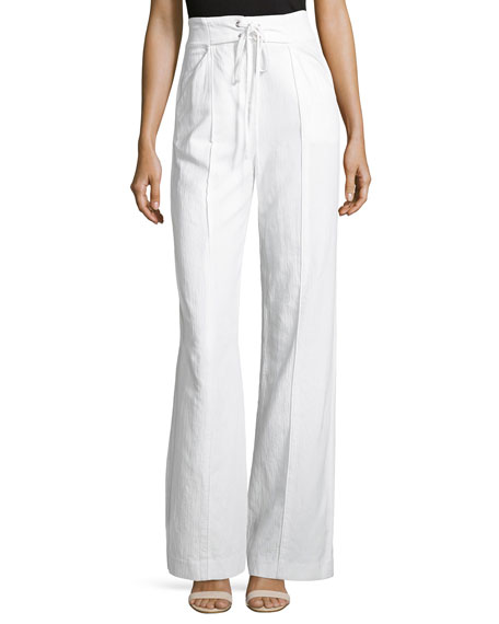 A.L.C. Easton Flared-Hem Poplin Crop Top, White and