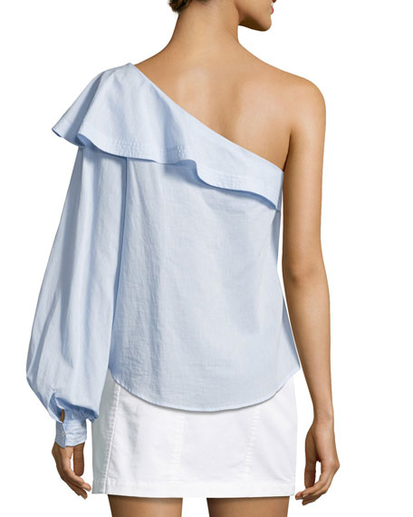 e0afad7ce6e A.L.C. Brielle One-Shoulder Poplin Top, Light Blue | Neiman Marcus