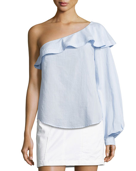 A.L.C. Brielle One-Shoulder Poplin Top, Light Blue and