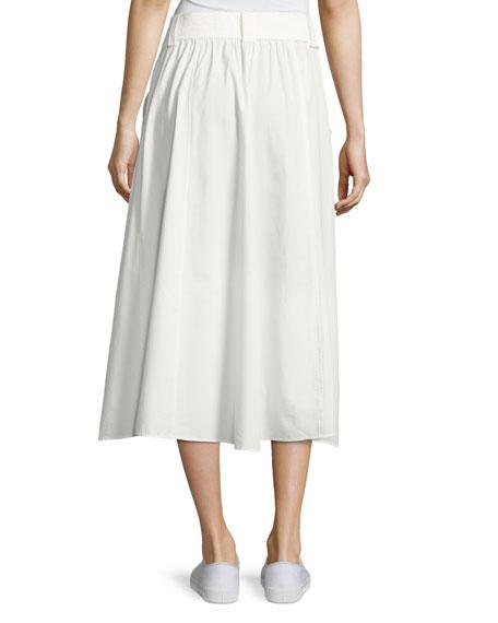 Divya Button-Front Poplin Maxi Skirt