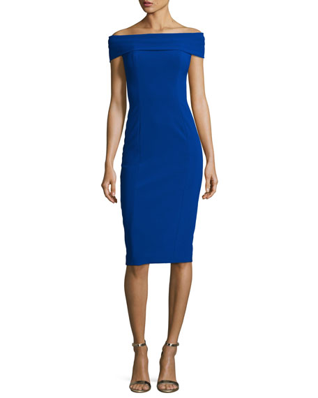 Off-the-Shoulder Stretch Crepe Cocktail Dress, Cobalt