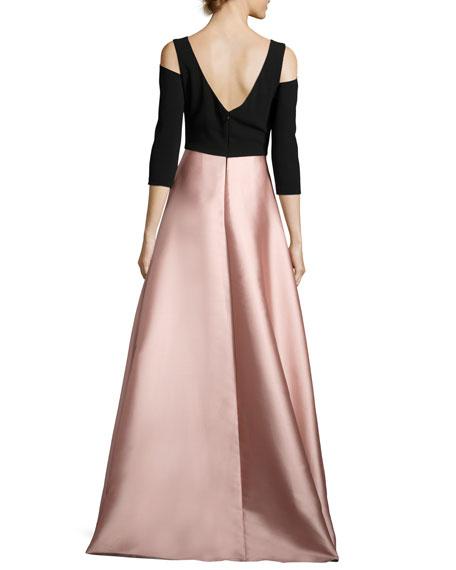 Floral Cold-Shoulder Crepe & Taffeta Evening Gown, Black/Blush