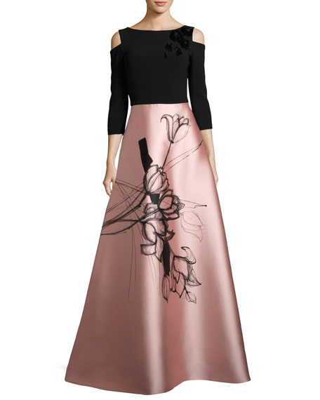 Theia Floral Cold-Shoulder Crepe & Taffeta Evening Gown,