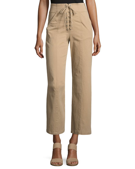 A.L.C. Kyt High-Waist Lace-Front Pants, Khaki