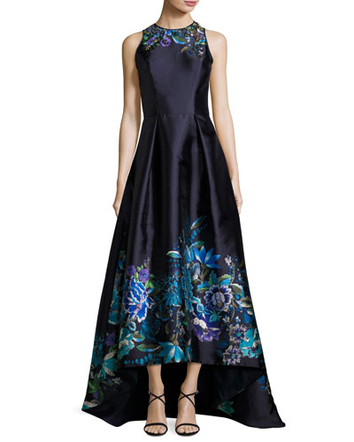 Sleeveless Pleated Floral Taffeta High-Low Gown, Navy/Multicolor