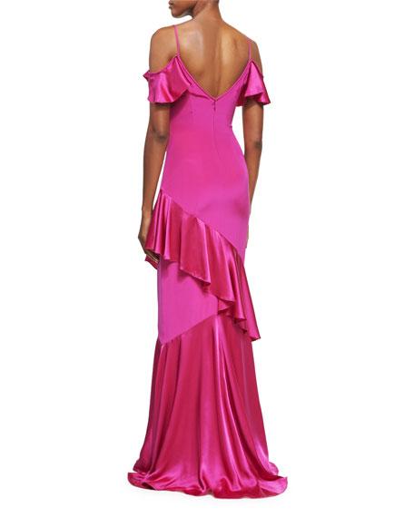 Cold-Shoulder Stretch Silk Evening Gown, Magenta
