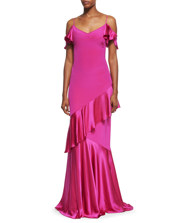 Theia Cold-Shoulder Stretch Silk Evening Gown, Magenta   Neiman Marcus