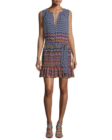 Shoshanna Carlisle Sleeveless Printed Silk Chiffon Flounce Dress,