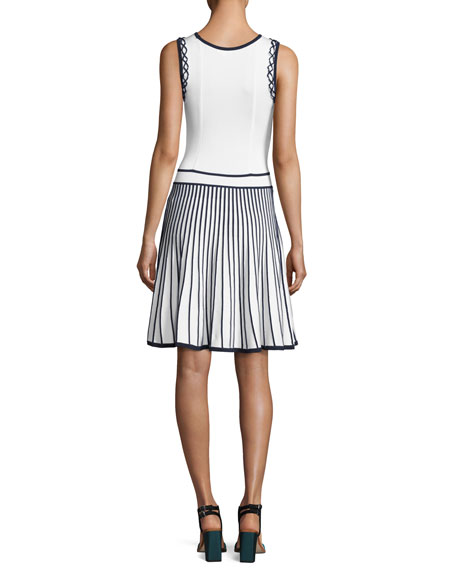 Bernadette Sleeveless Two-Tone Stretch Dress, Blue/White