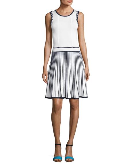 Shoshanna Bernadette Sleeveless Two-Tone Stretch Dress, Blue/White