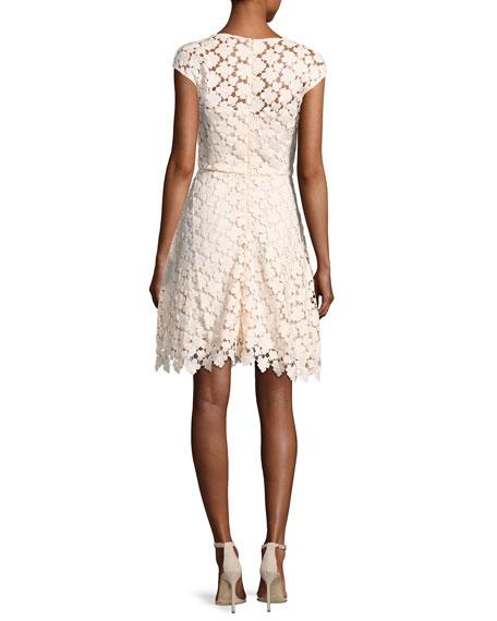 Buchanan Cap-Sleeve Floral Lace Dress, Pink