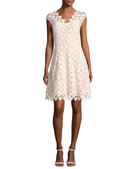 Buchanan Cap-Sleeve Floral Lace Dress, Pink