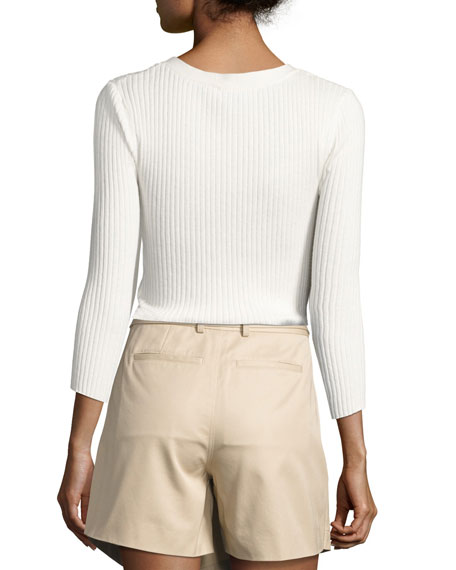 Rib Patch Pocket Cotton Sweater, Off White